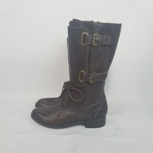 Enzo Angiolini Leather combat boots laces buckles